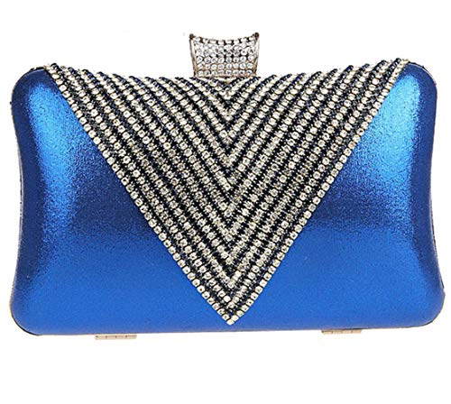 with Evening EDLUX Buckle Bag Red Polyester Bag Cord Women for 20 Handbag Rhinestone and Metallic Shoulder 15cm 4 Blue Ladies q5nYrYIw