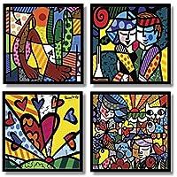 Romero Brito Placas Decorativas Kit 4 Quadros Mdf In Quadre