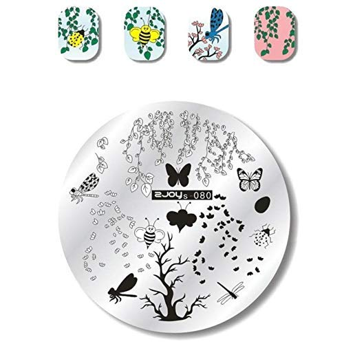 Unknown Nail Stamping Plates Bee Birdie Summer Flower Cute Anime Image Gel Nail Template Stencils Manicure Template Tool (80) (Drk Nail Stamping Plates)