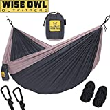 wwww Hammock for Camping - Single & Double Hammocks Gear For The Outdoors Backpacking Survival or Travel- DO Charcoal Grey & Rose- DoubleOwl