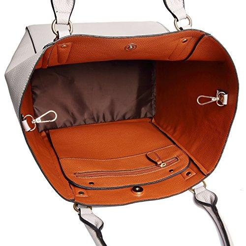 PB-SOAR Damen Elegante Tasche Henkeltasche Schultertasche Schulterbeutel Set 2 Stücke Shopper Ledertasche Handtasche Geldbörse (Braun) Grau 5B8NHRCKi