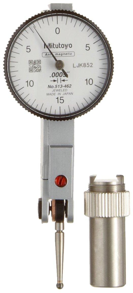 Mitutoyo 513-462 Dial Test Indicator, Basic Set, Horizontal Type, 0.375' Stem Dia, White Dial, 0-15-0 Reading, 1.575' Dial Dia, 0-0.03' Range, 0.0005' Graduation, Plus /-0.0005' Accuracy 0.375 Stem Dia 1.575 Dial Dia 0-0.03 Range 0.0005 Graduation
