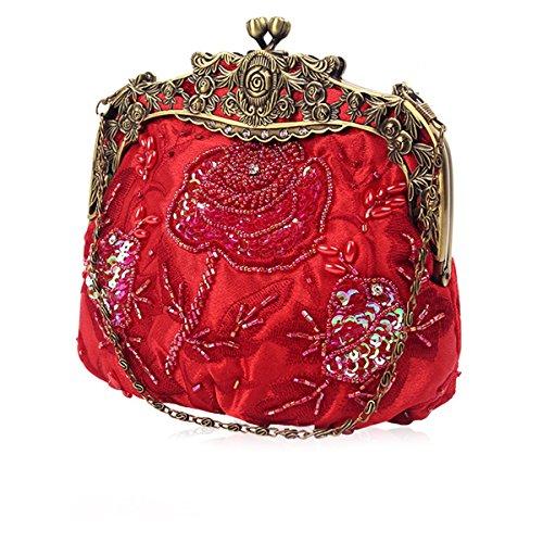 Main Femmes Perles Dames De Sac Soirée Sequins Noces Rouge À Vintage Bal Et Flada Embrayages xdEqw8B00