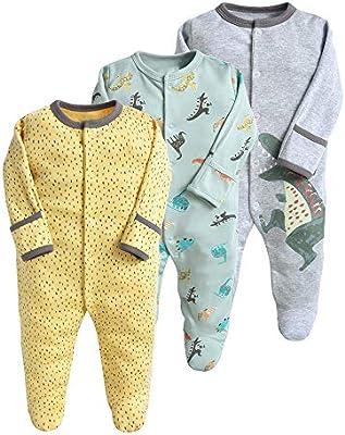 Pijama para bebé, pelele, paquete de 3, unisex, de algodón, 3 a 12 meses gris Talla:0-3 meses: Amazon.es: Bebé