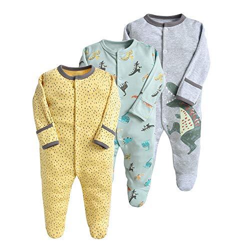Babyslaapromper 3-pack unisex pyjama's katoenen overalls rompers met 3-12 maanden