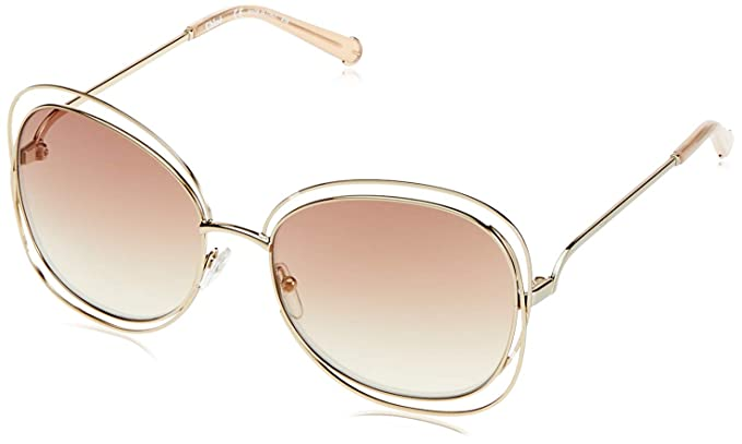 fce592e954 Chloe CE119S 724 Gold/Peach Carlina Squared Oval Sunglasses Lens ...
