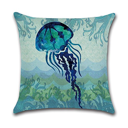 Royalours Cotton Linen Throw Pillow Covers Ocean Marine Animal Set Outdoor Decorative Pillow Cases Cushion Cover for Home Sofa Office 18''x 18'' (Blue Ocean Style) by Royalours (Image #4)