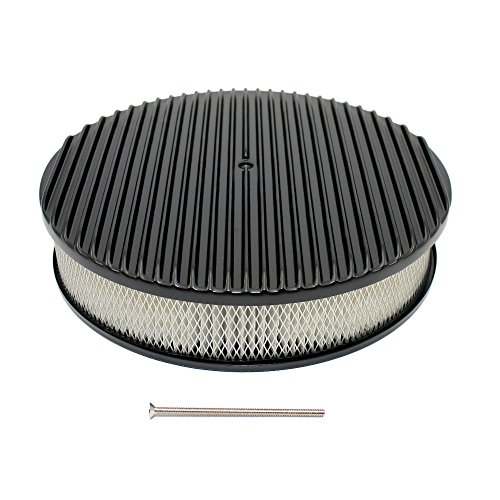 Assault Racing Products A6801-3P 14 x 3 Round Full Finned Top Black Aluminum Air Cleaner Assembly Retro