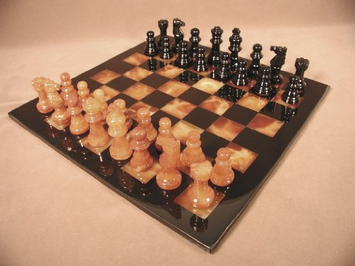 Worldwise Imports Brown and Black Alabaster Chess Set with Frame