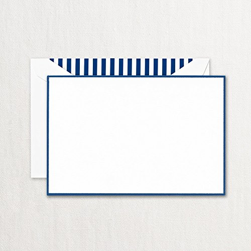 Crane Regent Blue Bordered Correspondence Card, Pearl White (CC3774) by Crane