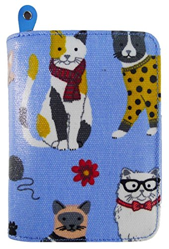 Kukubird Varios Gatos Unicornios Animales De Anclaje Paraguas Patrón Floral Medio Damas Monedero Cartera Mixed Cat Light Blue
