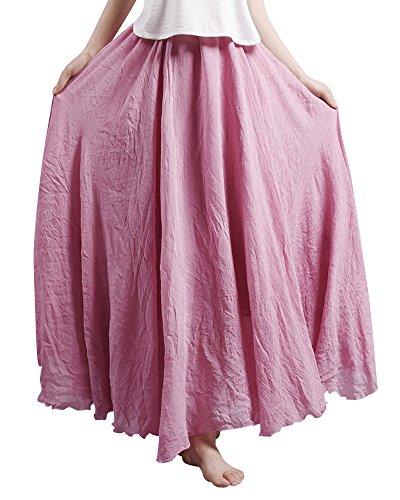 Lache Elastique Lin Longue Rouge Coral Maxi Jupe Femme En Elastique Tour Taille Coton de 4n68PnqS