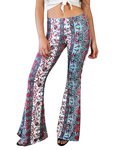 5cb17e5a0717b6 Daisy Del Sol High Waist Gypsy Comfy Yoga Ethnic Tribal Stretch 70s Bell  Bottom Flare Pants (Sma, Red/Jade) - Buy Online in Oman. | Apparel Products  in Oman ...