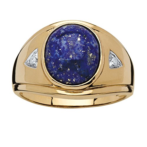 Men's Oval-Cut Blue Lapis Diamond Accent 18k Gold over .925 Sterling Silver Ring
