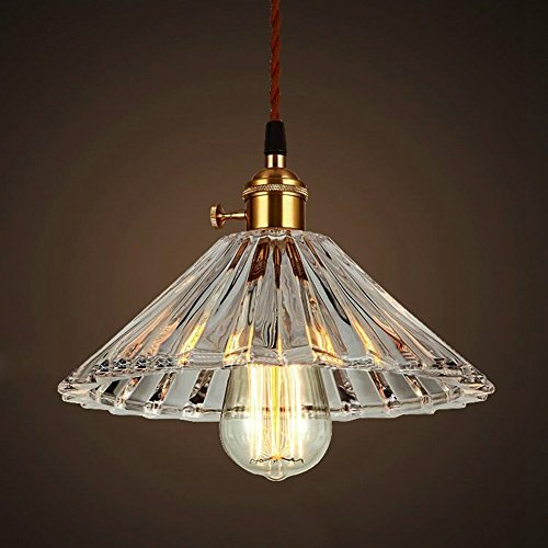 JINGUO Lighting Industrial Decorative Pendant Lights Hanging Lamp Ceiling Light Fixture with Cone Glass Shade for Kitchen Restaurant Cafe Bar