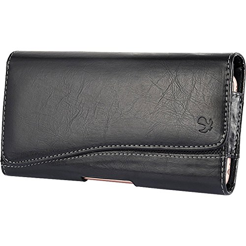 SLectionAccess Curve Vegan Leather Horizontal Holster Pouch with Card Slot fits 5