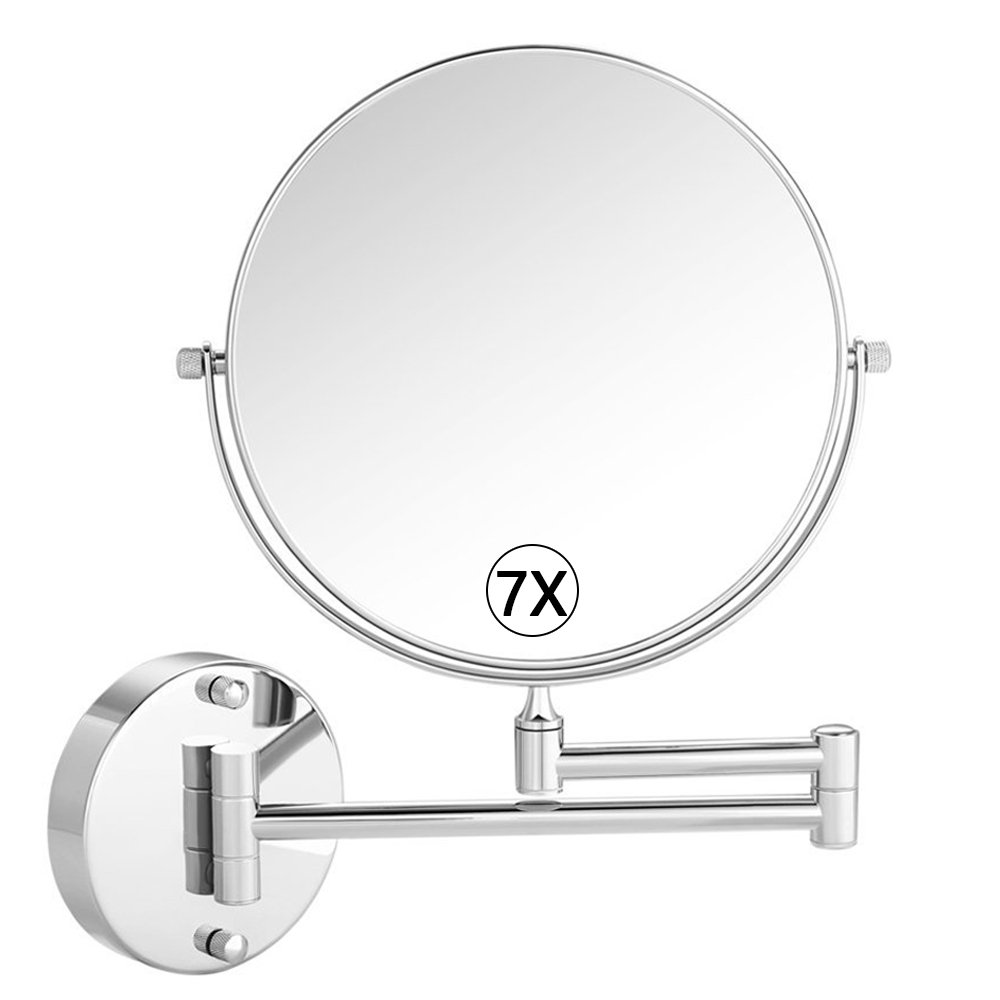 Cosprof Bathroom Mirror Magnification Double-sided 8 Inch Wall Mounted Vanity Magnifying Mirror Swivel, Extendable and Chrome Finished (7X)