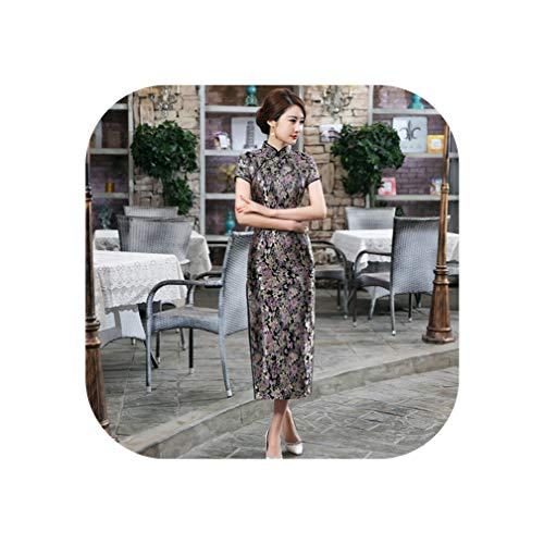 Blue Chinese Style Formal Dress Women Silk Satin Long Qipao Vintage Elegant Flower Cheongsam,Style N,M