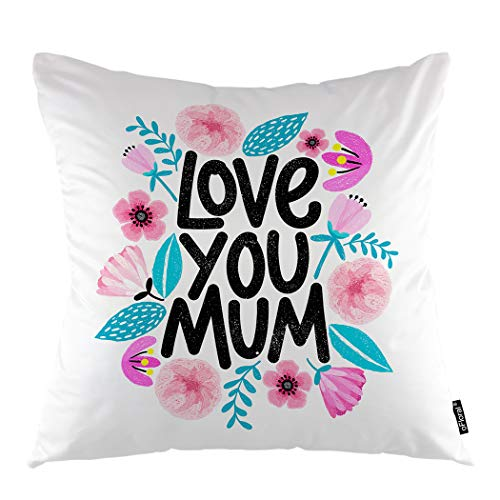 oFloral Pink Floral Throw Pillow Covers Cushion Cover Love You Mum Modern Calligraphic Letter Happy Mothers Day Decorative Square Pillow Case 18