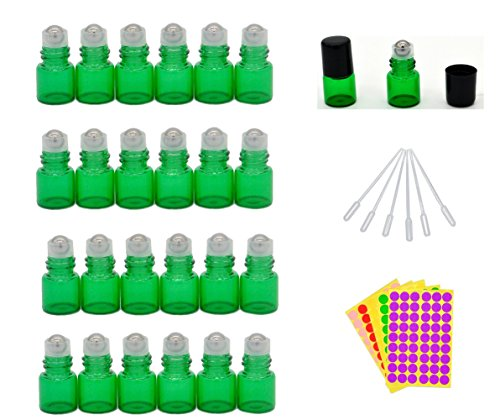 1-ml-1-4-dram-green-glass-roll-on-bottles-vials-for-essential-oil-come-with-blank-lables-plastic-dro