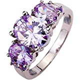 New Fashion Jewelry Silver Plated Women Girl Ring Shining Purple Zircon Crystal LOVE STORY (8)