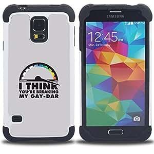 "Hypernova Híbrido Heavy Duty armadura cubierta silicona prueba golpes Funda caso resistente Para SAMSUNG Galaxy S5 V / i9600 / SM-G900 [Gaydar LGBT Cita divertida""]"