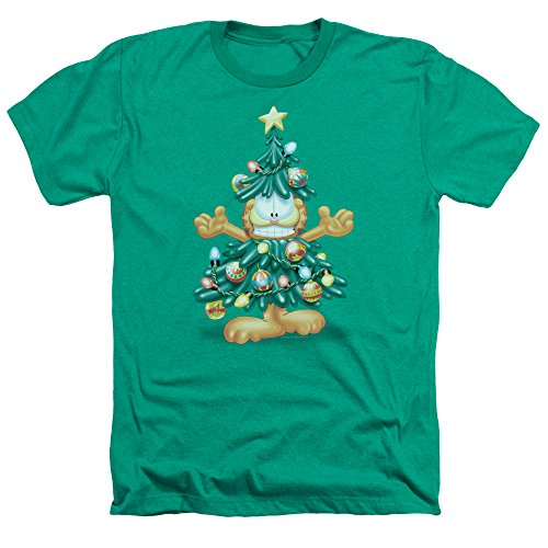 Garfield Comic Strip Cat Crazy Christmas Tree Holiday Adult Heather T-Shirt Tee