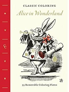 classic coloring alice in wonderland adult coloring book 55 removable coloring plates