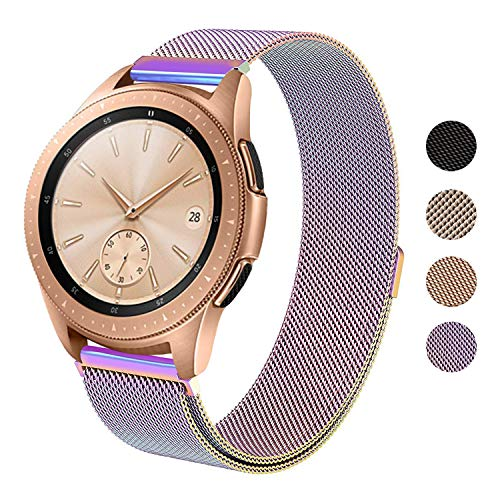 SWEES Milanese Band Compatible Samsung Galaxy Watch 42mm, 20mm Magnetic Stainless Steel Metal Replacement Band for Galaxy Watch 42mm, Gear Sport, Gear S2 Classic Smartwatch Girls Women Men, Colorful