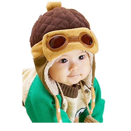 2017 New Cute Baby Boy Girls Pilot Warm Earflap Hat Toddler Kid Winter Plush Beanie Cap (New Earflap)