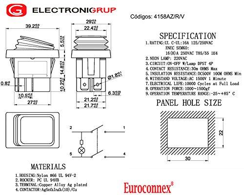 azul 10A//16A 125V//250V Interruptor estanco 4P ON- OFF Euroconnex