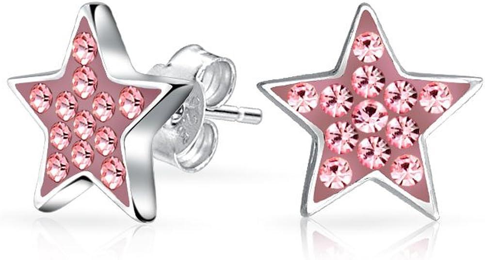 Patriótico Celestial Americano Rockestrella Pave Cristales Pinkestrella Pendiente Boton Para Adolescente Para Mujer 925