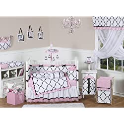 Pink, Black and White Princess Baby Girl Bedding 9pc Crib Set by Sweet Jojo Designs