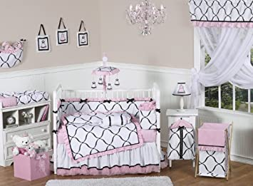 Amazoncom Pink Black And White Princess Baby Girl Bedding 9pc