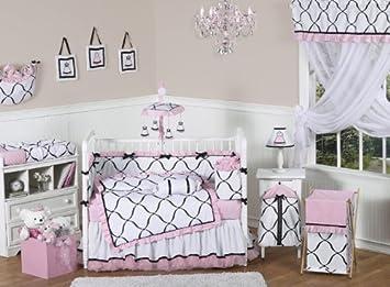 Pink Black And White Princess Baby Girl Bedding 9pc Crib Set By Sweet Jojo Designs