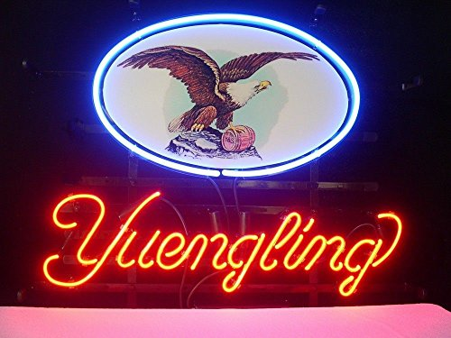 New Yuengling Eagle Lager Real Glass Tube Handcrafted Neon Sign Beer Bar Pub Restaurant Totel Coffe Shop Recreation Room Game Room Window Garage Wall Sign Neon Light Sign 19x15