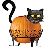 Black Cat Pumpkin Holder With Light Up Eyes - 3 PC