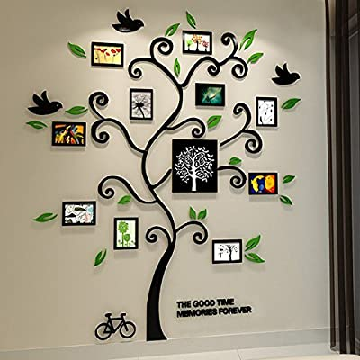 Alicemall Wall Stickers Family Hope Tree 3D Wall Decals Photo Frame Acrylic Decorative Wall Sticker Mural Wall Art, 57 x 69 inch