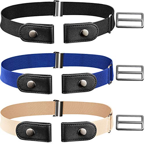 3 PiecesNo BuckleBelt No Buckle Stretch Elastic Waist Belt Buckle-free Adjustable Belt with 3 Pieces Extra Buckles for Women Men Jeans Pants (Black, Blue, Khaki)