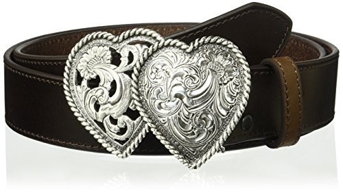 Ariat Women's Strap Two Heart Buckle Belt, brown, Large