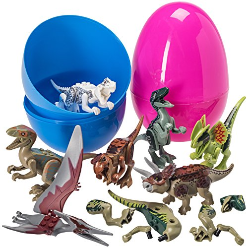Giant 7'' Easter Eggs Filed With 8 Dinosaur Puzzle Toys (Eggs Colors May Vary)