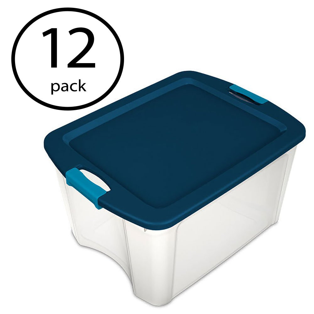 Sterilite 18 Gallon Durable Latch and Carry Storage Tote Box Container (12 Pack)