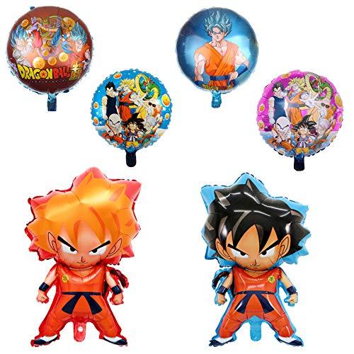 6 pcs Dragon Ball Z Balloons, Birthday Celebration Foil Balloon Set, DBZ Super Saiyan Goku Gohan Character Party Decorations -