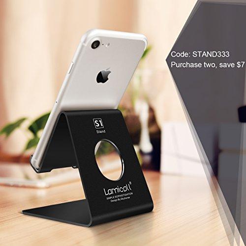 Soporte para teléfono celular Lamicall, base para teléfono: base, soporte, soporte compatible con todos los teléfonos inteligentes Android, teléfono XS Max XR 6 6s 7 8 X Plus 5 5s 5c Carga, escritorio de accesorios - Negro