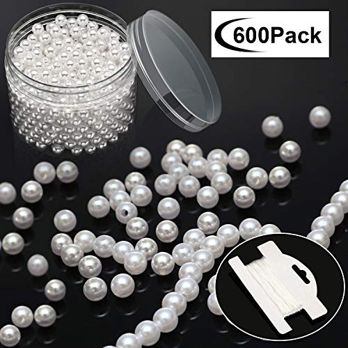 600 Pieces Art Faux Pearls 8 mm Pearl Beads with Holes White Round Pearls with 10 m Stretch Cord in Plastic Box