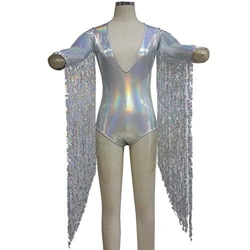 Pinda Boho Hippie Festival Rave Holographic Sequin Fringe Bodysuit Jumpsuit (L, Silver)