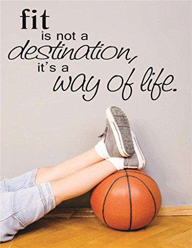 """Design with Vinyl RAD V 309 3 Fit is Not A Destination Its A Way of Life Sports Workout Health Exercise Fitness Motivation Quote Teen Boy Girl Man Women Decal, 20"""" x 30"""", Black"""