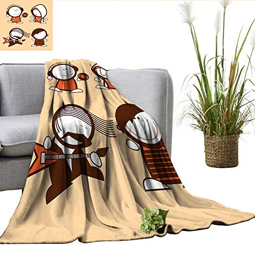- ScottDecor Funny Full Size Blanket Musician People Icons with Guitar Headphones Hip Hop Boy DJ Emo Song Star Print Charisma blanke Sand Brown White W60 xL70