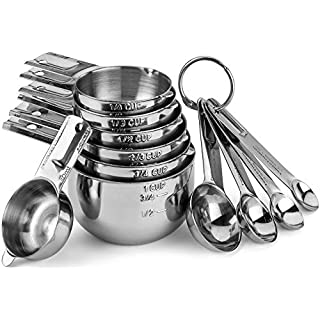 11 Pcs Set Stainless Steel Measuring Cups and Spoons Stackable