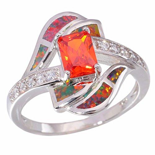CiNily Created Orange Opal Orange Garnet Rhodium Plated Zircon Women Jewelry Gemstone Ring Size 9